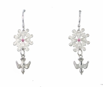 Huguenot Cross Dangle Earrings with your birthstone