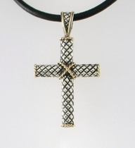 Quilted Cross in Sterling and 18K