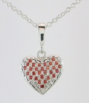 Quilted heart with rubies