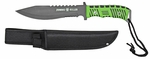 "13"" Zombie Killer Steel Hunting Knife with Sheath - Green Handle"