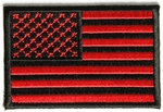 American Flag Velcro Patch, Black/Red