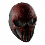 Army of Two FMA Punisher Style Airsoft Mask, Stamped Steel Mesh, Black/Red
