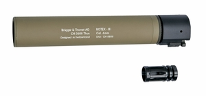 B&T ROTEX III Metal QD Barrel Extension and Metal Flash Hider, Tan, 8.9""