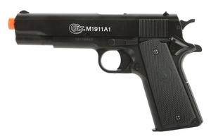 Colt M1911 Spring Airsoft Pistol, Metal Slide, Black