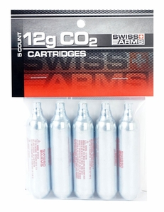 Swiss Arms 12G CO2 Cartridges, 5 Pack - GROUND SHIPPING ONLY