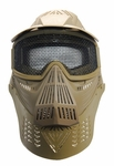 Full Face Mask with Mesh Goggles and Neck Protector, Tan