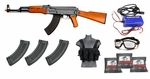 Full Metal AK47 AEG Starter Kit, 3 Hi Cap Mags, Smart Charger, Chest Rig, Goggles, 3k BBs, 380 FPS