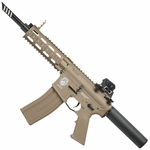 G&G Combat Machine GR16 CQW WASP Blowback AEG Airsoft Gun, Tan
