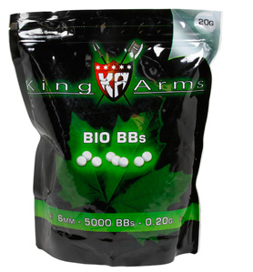 King Arms 6mm Biodegradable airsoft BBs, 0.20g, 5000 rds, Green
