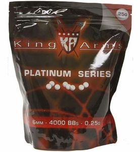 King Arms 6mm Platinum Series airsoft BBs, 0.25g, 4000 rds, white