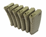 KWA K120 Polymer Midcap Magazine for M4 / M16 Series Airsoft AEG Rifles, 6ct, FDE