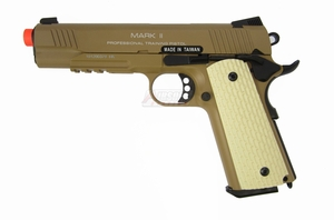 KWA M1911 MK II Full Metal Tactical PTP Airsoft Pistol GBB, Desert Tan