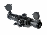 Lancer Tactical 1.5-4x Illuminated Mil-Dot Rifle Scope, Red/Green Dot, Railed