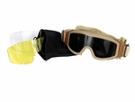 Lancer Tactical Airsoft Safety Goggles, Basic, Tan Frame, Multi Lens Set