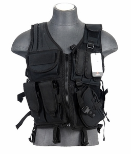 Lancer Tactical Cross Draw Tactical Vest, Black