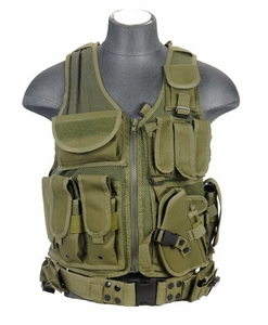 Lancer Tactical Cross Draw Tactical Vest, OD Green