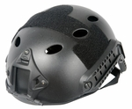Lancer Tactical FAST Helmet, PJ Type with Rails and Velcro, Black