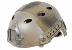 Lancer Tactical FAST Helmet, PJ Type with Rails and Velcro, Navy Seal Custom Tan