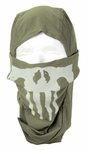 Lancer Tactical Ghost Balaclava, OD Green w/ Skull Design