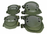 Lancer Tactical Knee and Elbow Pad Set, OD Green