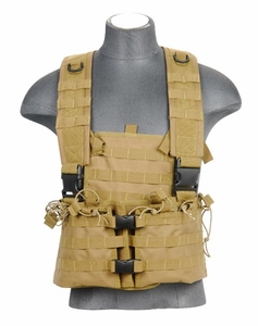 Lancer Tactical M4 Chest Rig with Hydration Carrier, Desert Tan