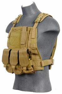 Lancer Tactical Molle Plate Carrier Vest in Tan