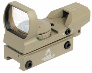 Lancer Tactical Red/Green Dot Reflex Sight, 4 Reticles - Tan