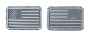 Lancer Tactical USA Flag Forward and Reverse Velcro Patches, ACU Gray, Set of 2