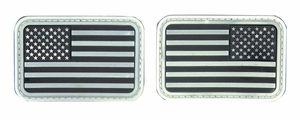 Lancer Tactical USA Flag Forward and Reverse Velcro Patches, Glow in the Dark White, Set of 2