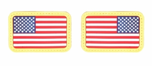 Lancer Tactical USA Flag Forward and Reverse Velcro Patches, Red White & Blue, Set of 2