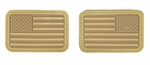 Lancer Tactical USA Flag Forward and Reverse Velcro Patches, Tan, Set of 2