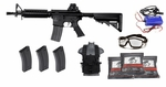 M4 Full Metal Gearbox AEG Starter Kit, 3 Hi Cap Mags, Smart Charger, Chest Rig, Goggles, 3k BBs, 400 FPS