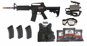 M4 Full Metal Gearbox AEG Starter Kit, 3 Hi Cap Mags, Smart Charger, Chest Rig, Goggles, 3k BBs, 370 FPS