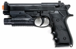 M9 Style Airsoft Spring Pistol - Black with Laser
