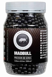 Mad Bull 0.43g 6mm Precision Grade Airsoft BBs, Black, 2000 Rounds