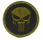 Punisher Skull Circle Black and OD Green Velcro Patch