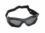 Slim Style Airsoft Protective Goggles, Black w/ Gray Lens