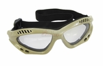 Slim Style Airsoft Protective Goggles, Tan w/ Clear Lens