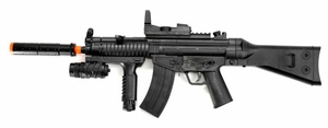 Spring M5 Airsoft Gun with Laser, Dot Sight, and Flashlight