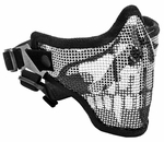2G Steel Mesh Half Face Mask for Airsoft, Black with Skull