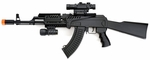 Tactical Spring AK47 Airsoft Rifle with Laser, Scope, and Flashlight