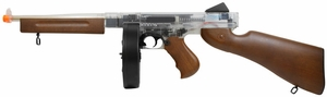 Thompson M1A1 AEG with Drum Mag, Clear & Wood by Cybergun
