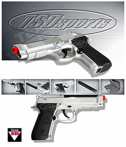TSD Sports M9 Style CO2 Powered Airsoft Pistol - Silver