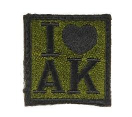UK Arms I Heart AK Velcro Patch, OD/Black