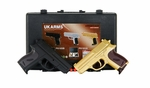 UK Arms Spring Pistol Combo Pack, Black & Gold with Case P618GB