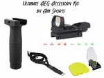 Ultimate AEG Accessory Kit by AIM Sports w/ Dot Sight, Foregrip, Sling & Lens Protector