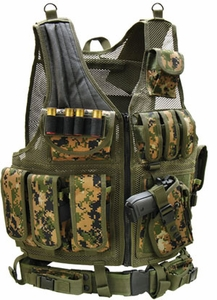 UTG Airsoft Deluxe Tactical Vest, Woodland Digital Camo, MARPAT