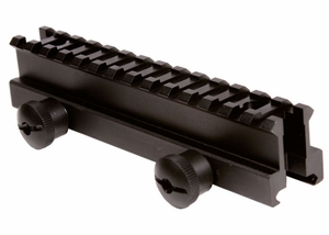"UTG High Profile Riser Mount, 1"" Saddle Height, See Through Picatinny Rail, 13 Slots"