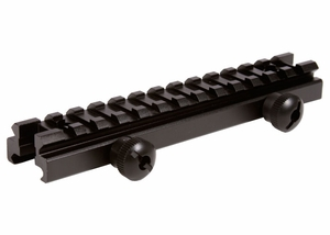 "UTG Low Profile Riser Mount, 0.5"" Saddle Height, See Through Picatinny Rail, 13 Slots"