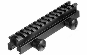 "UTG Medium Profile Riser Mount, 0.83"" Saddle Height, See Through Picatinny Rail, 13 Slots"